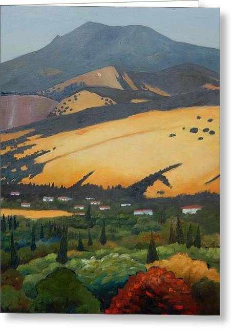 Greeting Card featuring the painting Mt. Diablo Above by Gary Coleman