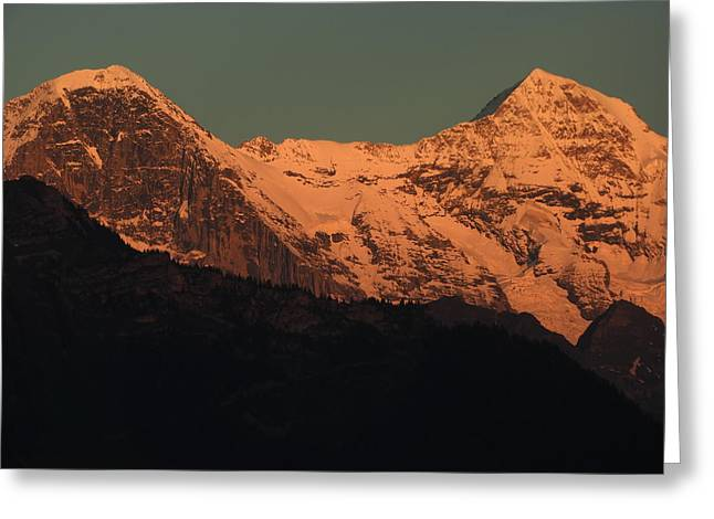 Mt. Eiger And Mt. Moench At Sunset Greeting Card