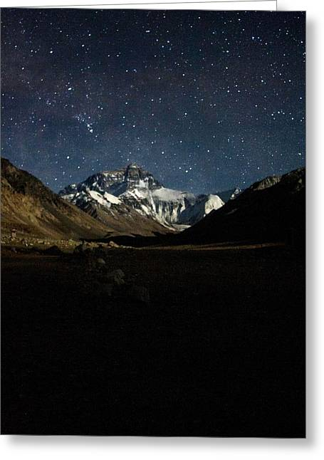 Mt Everest At Night Greeting Card by Gaurav Agrawal