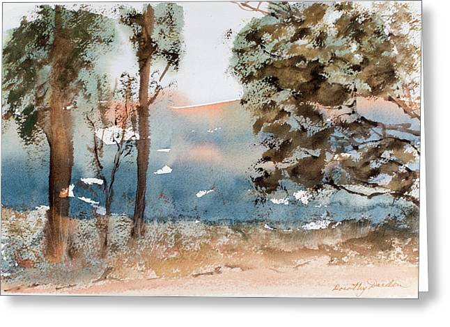 Mt Field Gum Tree Silhouettes Against Salmon Coloured Mountains Greeting Card