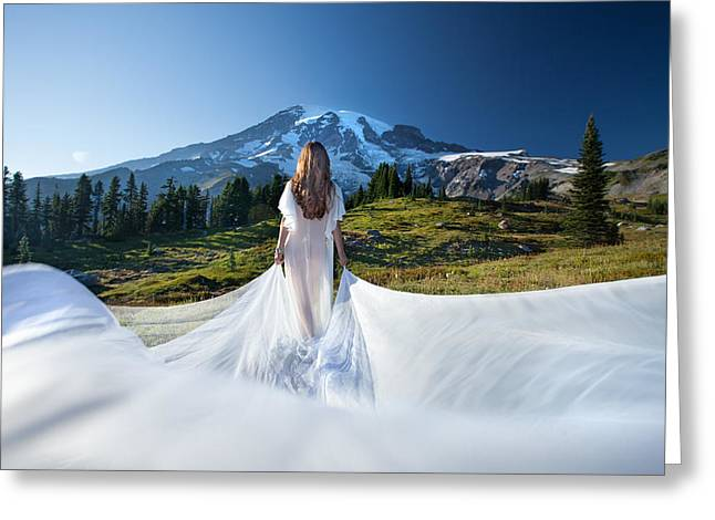 Greeting Card featuring the photograph Mt Goddess by Dario Infini