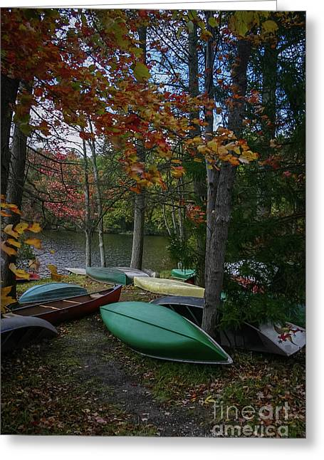 Mt. Gretna Canoes In Fall Greeting Card