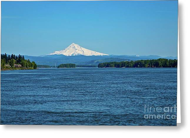 Mt. Hood Above The Columbia River Greeting Card