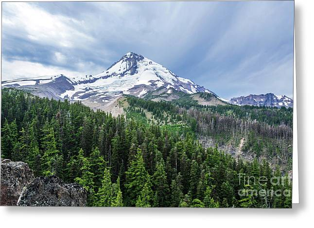 Mt Hood From Cloud Cap Greeting Card by Linda Steider