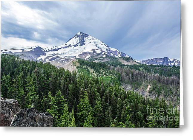 Mt Hood From Cloud Cap Greeting Card by Linda Steider
