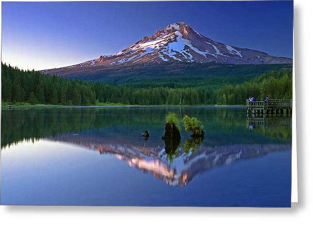 Mt. Hood Reflection At Sunset Greeting Card