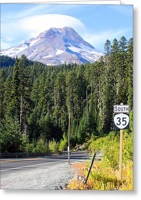 Mt. Hood With Lenticular Cloud Greeting Card by Margaret Hood