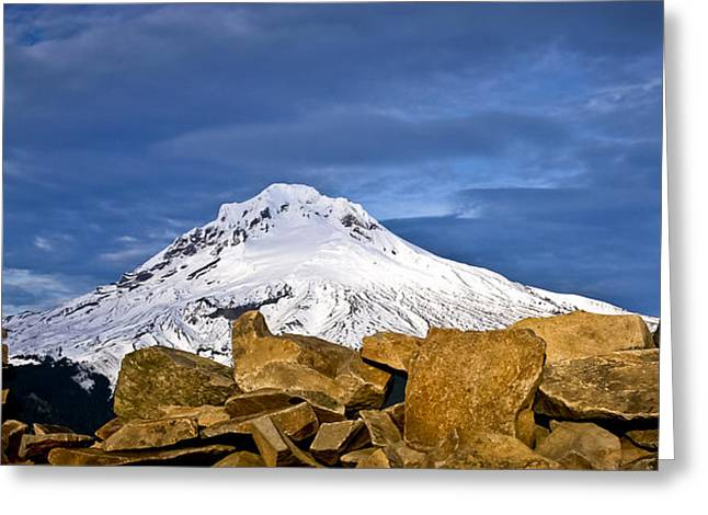 Mt Hood With Talus Greeting Card