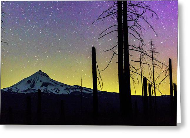 Greeting Card featuring the photograph Mt. Jefferson Bathed In Auroral Light by Cat Connor
