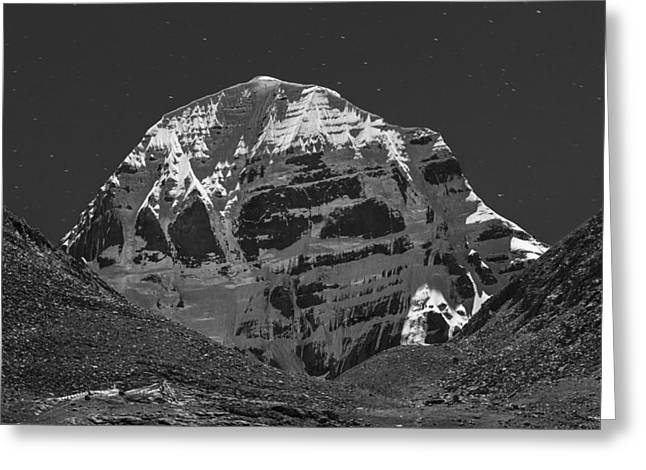 Mt. Kailash In Moonlight, Dirapuk, 2011 Greeting Card