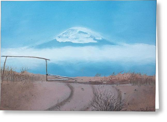 Greeting Card featuring the painting Mt. Kilimanjaro by Susan Roberts