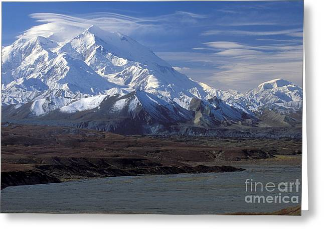 Mt. Mckinley And Lenticular Clouds Greeting Card by Sandra Bronstein