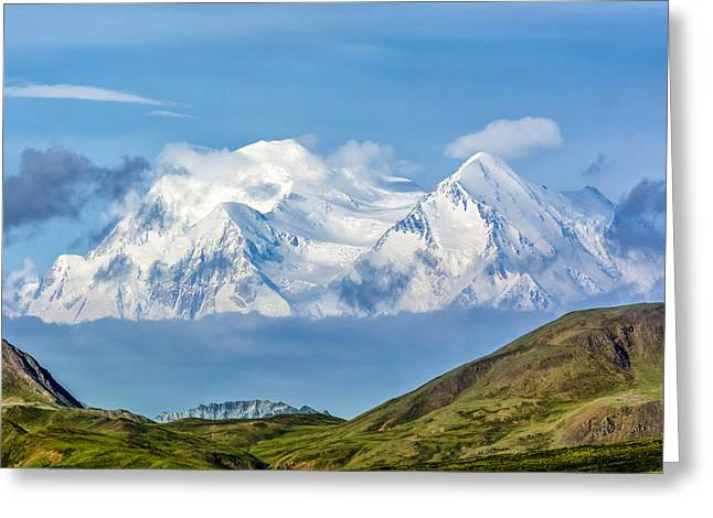 Mt Mckinley Materializes Out Of The Clouds. Greeting Card