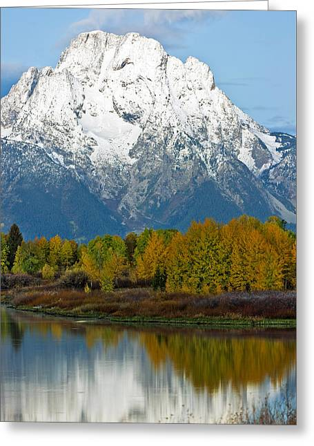 Mt Moran From Ox Bow Bend Greeting Card by Gary Langley