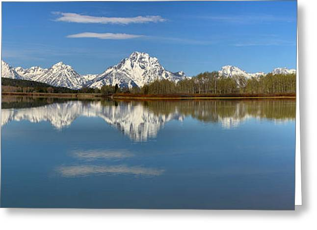 Mt. Moran Reflections At Oxbow Greeting Card by Adam Jewell