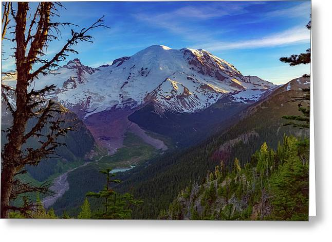 Mt Rainier At Emmons Glacier Greeting Card by Ken Stanback