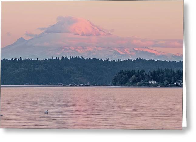 Mt. Rainier At Sunset Greeting Card