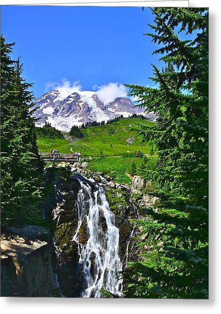 Mt. Rainier From Myrtle Falls Greeting Card