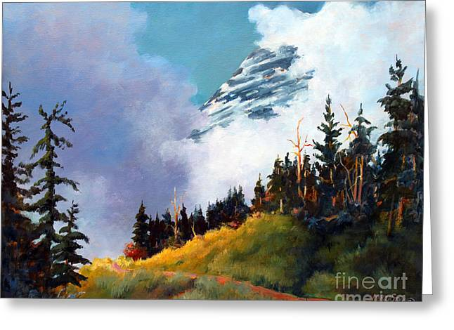 Mt. Rainier In Clouds Greeting Card