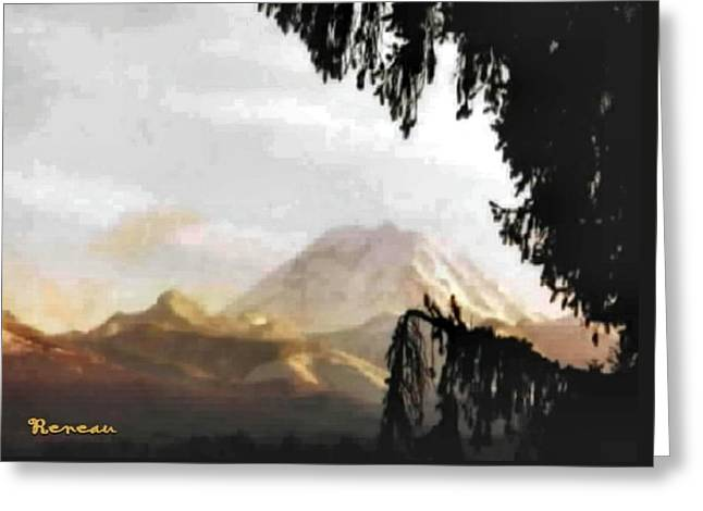 Greeting Card featuring the photograph Mt. Rainier In Lace by Sadie Reneau