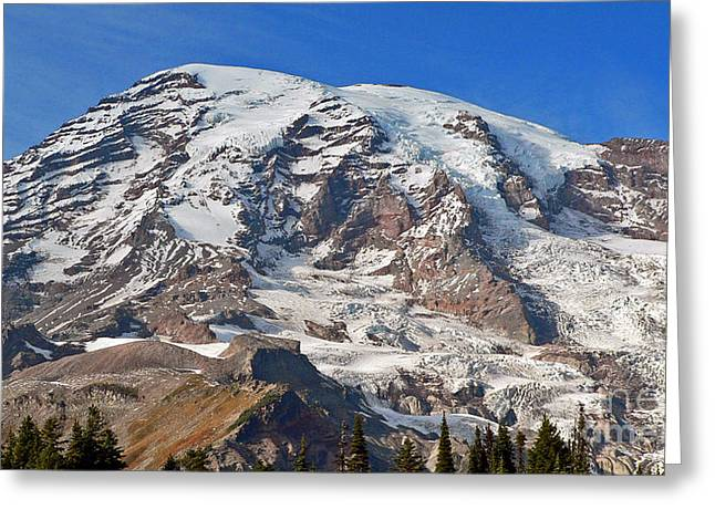 Greeting Card featuring the photograph Mt. Rainier In The Fall by Larry Keahey
