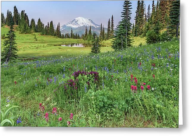 Mt Rainier Meadow Flowers Greeting Card
