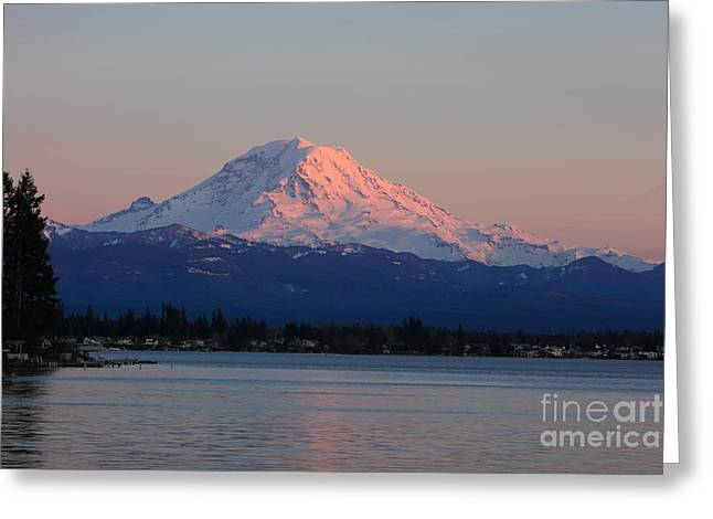 Greeting Card featuring the photograph Mt Rainier Sunset by Peter Simmons
