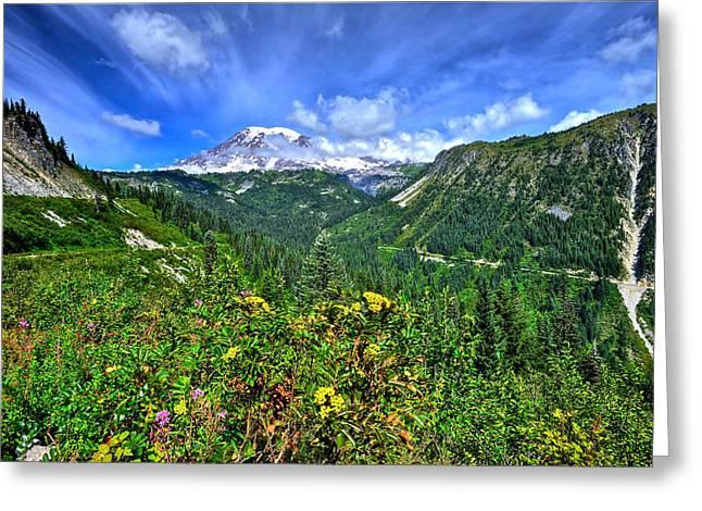 Mt. Rainier Through The Clouds  Greeting Card