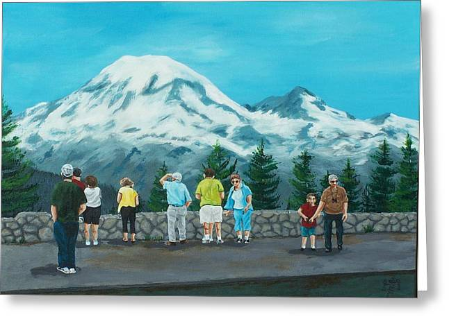 Mt. Rainier Tourists Greeting Card by Gene Ritchhart