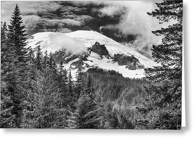 Greeting Card featuring the photograph Mt Rainier View - Bw by Stephen Stookey