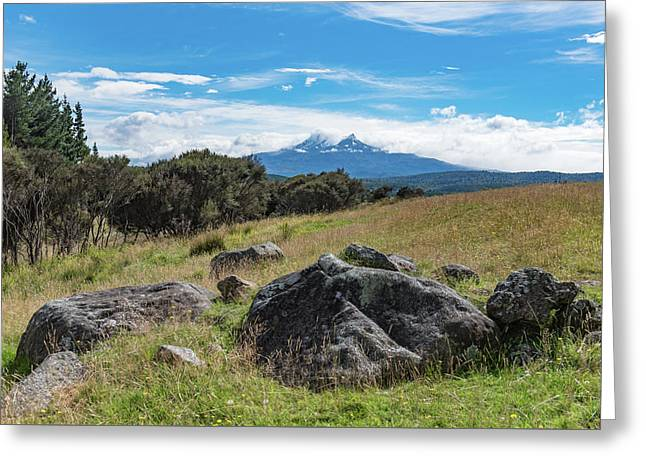 Greeting Card featuring the photograph Mt Ruapehu View by Gary Eason