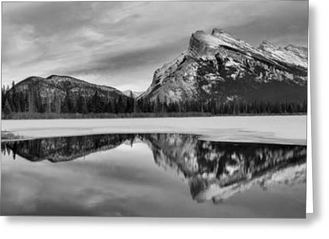 Mt Rundle Reflections Black And White Greeting Card by Adam Jewell