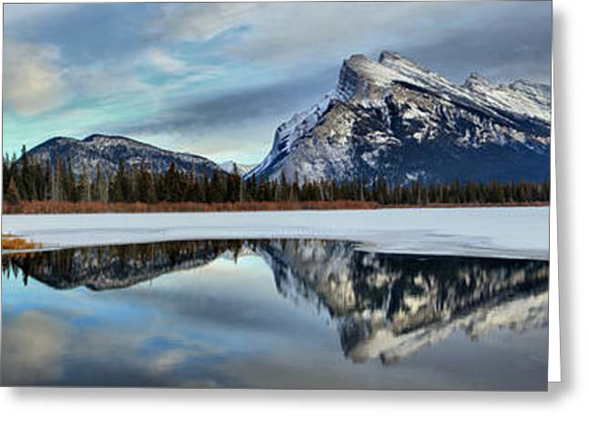 Mt Rundle Winter Panorama Greeting Card by Adam Jewell