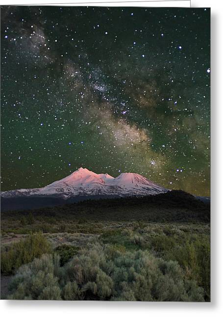 Mt Shasta With Milky Way#2 Greeting Card by Keith Marsh