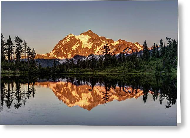 Greeting Card featuring the photograph Mt Shuksan Reflection by Pierre Leclerc Photography