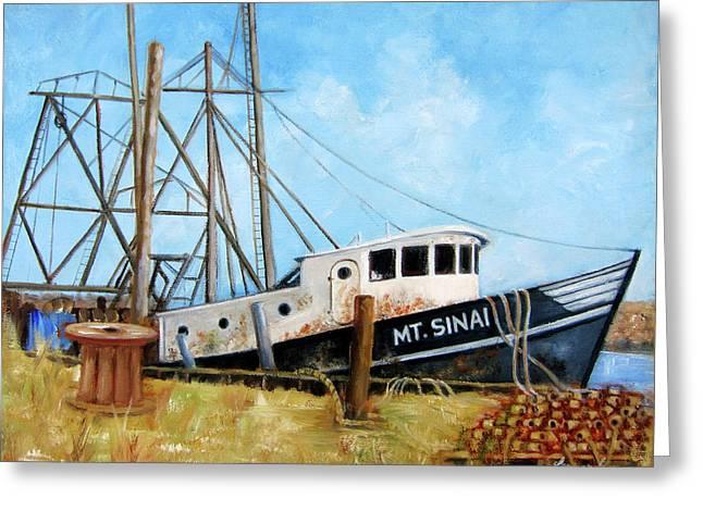 Mt. Sinai Fishing Boat Greeting Card by Leonardo Ruggieri