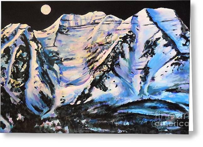 Mt. Timpanogos Under A Full Moon Greeting Card