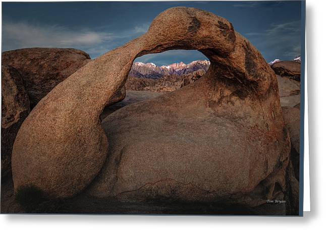 Greeting Card featuring the photograph Mt. Whitney Through Mobius Arch by Tim Bryan