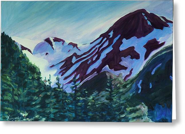 Greeting Card featuring the painting Mt.roberts Juneau Alaska by Yulia Kazansky