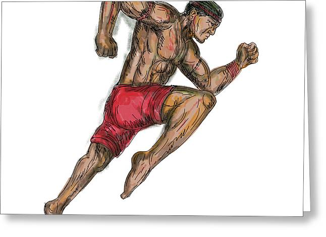 Muay Thai Boxing Fighter Tattoo Greeting Card