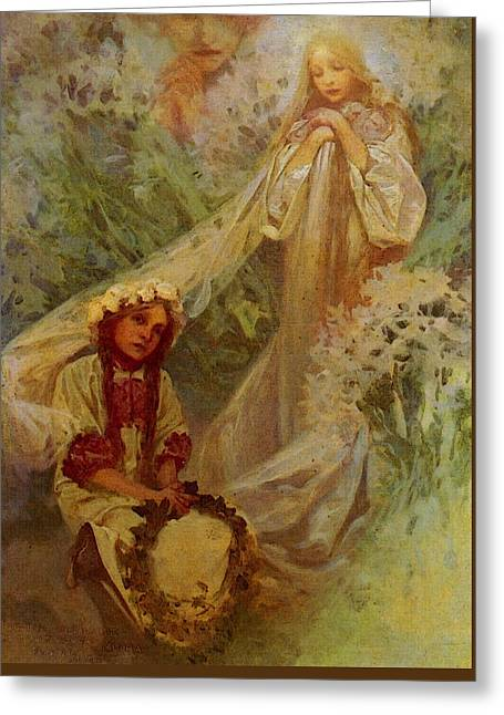 Mucha Alphonse Maria Madonna Of The Lilies Greeting Card by Alphonse Maria Mucha