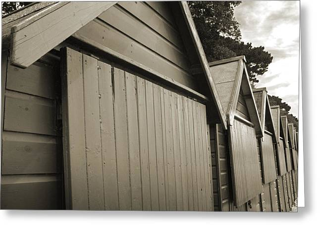 Mudeford Huts Greeting Card by Andy Smy