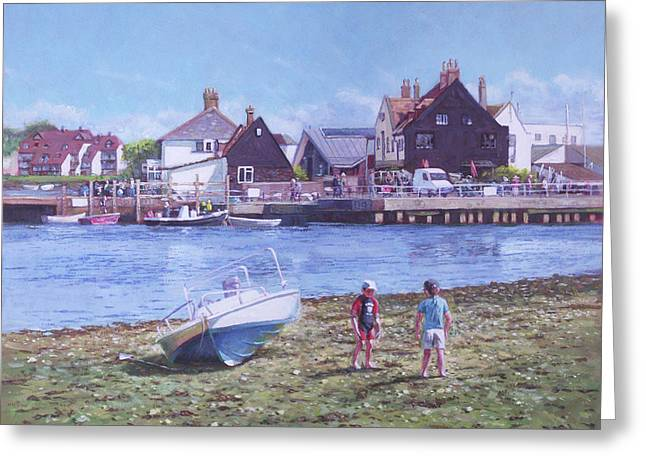 Greeting Card featuring the painting Mudeford Quay Christchurch From Hengistbury Head by Martin Davey