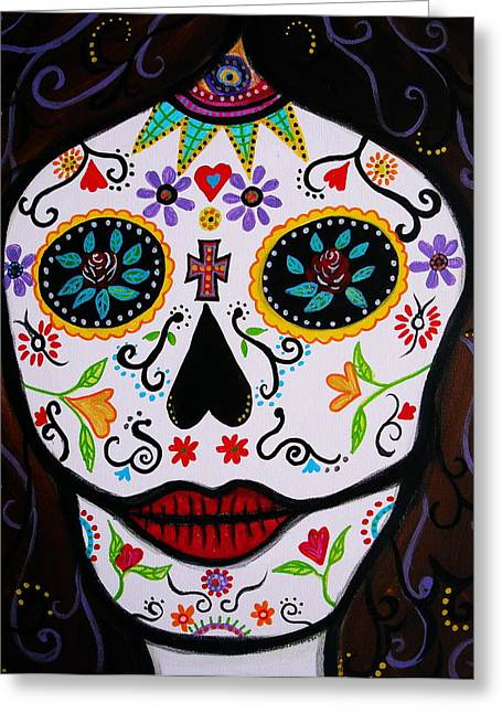 Greeting Card featuring the painting Muertos by Pristine Cartera Turkus