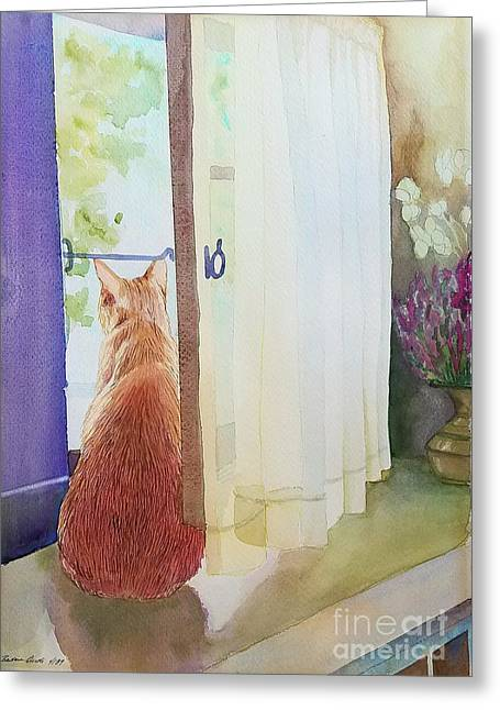 Muffin At Window Greeting Card