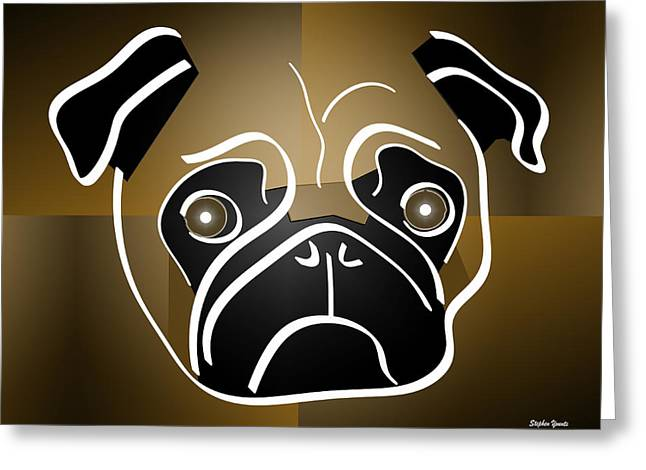Puppies Digital Greeting Cards - Mug of a Pug Greeting Card by Stephen Younts