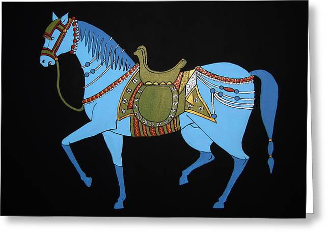 Greeting Card featuring the painting Mughal Horse by Stephanie Moore