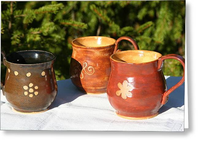 Ceramic Coffee Cup Ceramics Greeting Cards - Mugs Greeting Card by Monika Hood