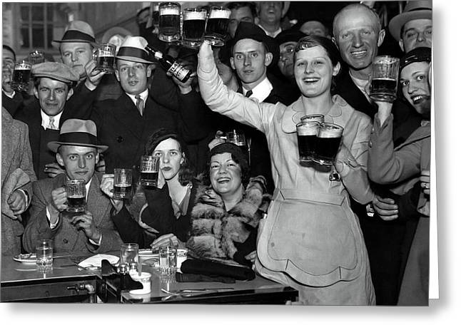 Mugs Raised As Prohibition Ends In Chicago  1933 Greeting Card