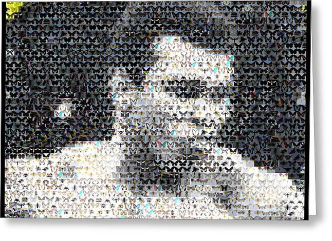 Muhammad Ali Butterfly Bee Mosaic Greeting Card by Paul Van Scott